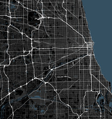 Black and white map of Chicago city. Illinois Roads