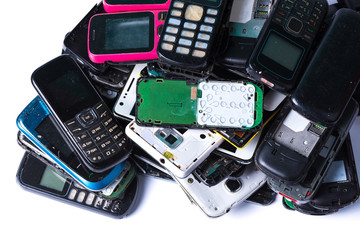 Electronics waste and used cell phone