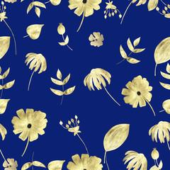 Seamless pattern of golden plants