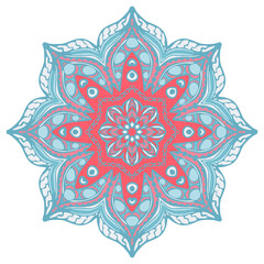 Mandala in beautiful colors for your design. Vector ornament on white background.