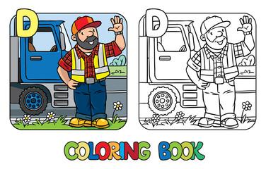 Driver coloring book. Profession ABC. Alphabet D
