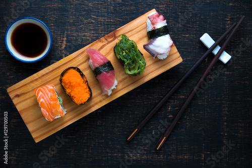 sushi set served on wooden stockfotos und lizenzfreie bilder auf bild 129700503. Black Bedroom Furniture Sets. Home Design Ideas