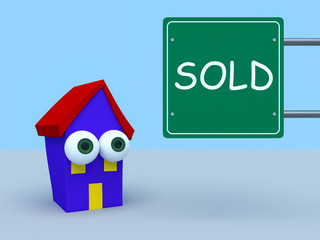 Cartoon House With Sign Sold, 3d illustration