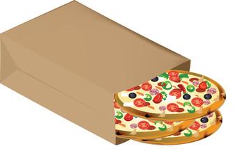 sacchetto pieno di pizze surgelate