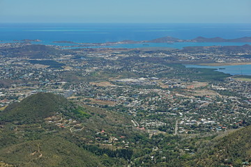 Aerial view of Noumea city on the southwest coast of New Caledonia island, south Pacific ocean