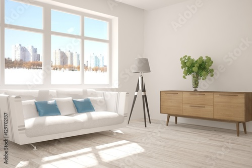 White Room With Sofa And Urban Landscape In Window