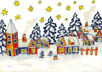 Christmas picture in blue and yellow colours