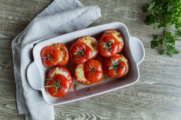Wall Mural - stuffed baked whole tomatoes with cheese