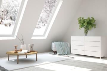 White room with modern furniture and winter landscape in window. Scandinavian interior design