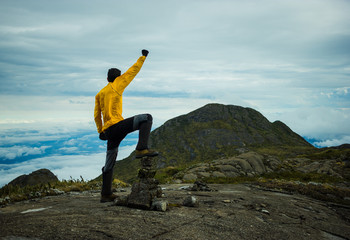 Motivated vibrant man celebrating at the top of rocky mountain w