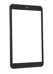Tablet black isolated front straight left side