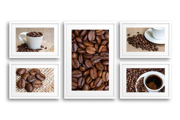Collage of frames with coffee motif posters. Cafes decor mock up