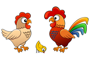 Vector illustration of hen, cock and chick.