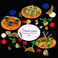 French cuisine top view frame. Food menu design. Vector drawn sketch illustration.