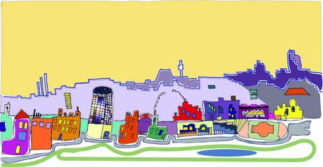 city children's figure, street, urban, building, bright colorful