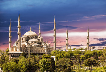 Blue mosque, Istanbul, at sunset Turkey