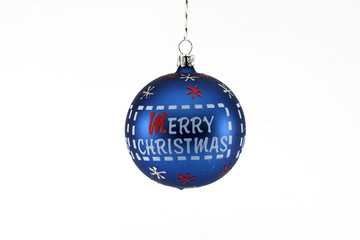 Blue Christmas ball with the text Merry Christmas isolated on white background