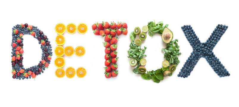 Detox word made from fruits and vegetables