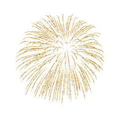 Firework gold isolated. Beautiful golden firework on white background. Bright decoration for Christmas card, Happy New Year celebration, anniversary, festival. Flat design Vector illustration