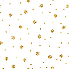 Christmas snowflake seamless pattern. Gold snow white background. Golden abstract shine wallpaper, wrapping texture. Symbol Merry Xmas holiday, Happy New Year celebration. Vector illustration