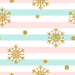 Christmas gold snowflake seamless pattern. Golden polka dots, snowflakes on blue, pink, white lines background. Winter snow design wallpaper. Symbol holiday New Year celebration Vector illustration