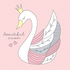 beautiful princess swan vector illustration