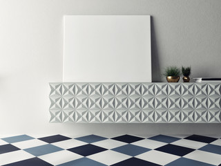 Close up horizontal poster on chest drawers, 3d illustration