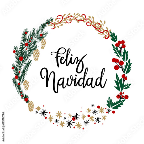 Quot feliz navidad hand lettering greeting card modern