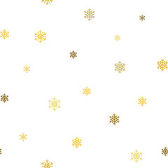 Christmas snowflake seamless pattern. Gold snow white background. Golden abstract wallpaper, wrapping texture. Symbol winter, Merry Xmas holiday, Happy New Year celebration. Vector illustration