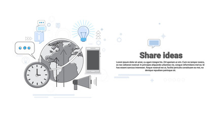 Share Idea Global Business Cooperation Concept Banner Thin Line Vector Illustration