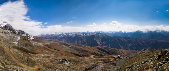 View from about 3500 meter of Tetnuldi glacier,  Svaneti region,