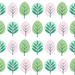 Spring decorative trees seamless pattern. Cute nature background with green leaves. Scandinavian style forest vector illustration. Design for textile, wallpaper, fabric.