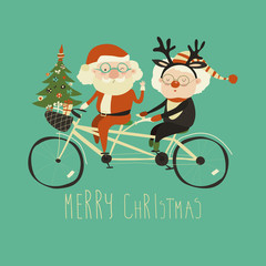 Cool grandma with grandpa as santa claus and reindeer riding a bicycle tandem