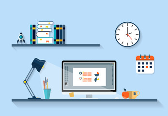 Flat design vector illustration of modern office interior with designer desktop showing design application with interface icons and elements in minimalistic style and color.