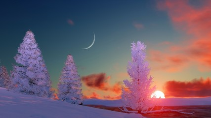 Winter landscape with snow covered firs and frozen river under sunset or sunrise sky with big setting sun and crescent. 3D illustration.