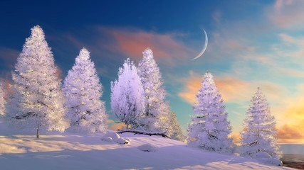 Fairytale winter landscape with snow covered fir trees under scenic sunset or sunrise sky with big half moon. 3D illustration.