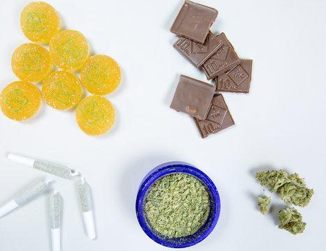 overhead of edible marijuana products and bud