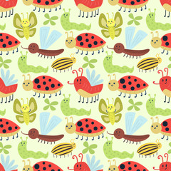 Cute insects seamless pattern vector.