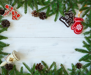 Christmas border with fir tree branches, christmas decorations a