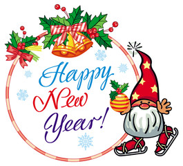 "Holiday label with funny gnome  and greeting text ""Happy New Year!"""