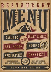 Restaurant menu vintage style design template with creative typography on old paper texture