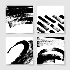 set of four black ink brushes grunge square pattern, hand drawin