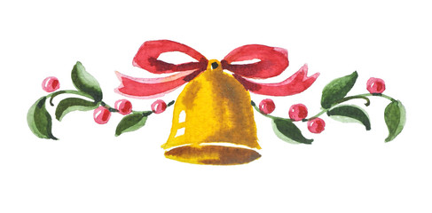 Christmas  bell. New Year Greeting Card.  Christmas decoration.