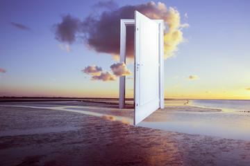 Surrealistic door open on calm ocean, window to freedom