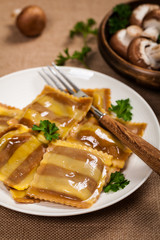 Portabella Mushroom Cheese Ravioli. Selective and soft focus.