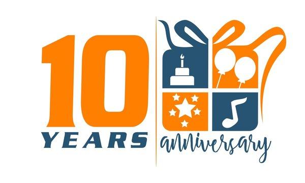 10 Years Gift Box Ribbon Anniversary