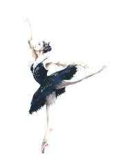 Ballerina dancer Odile black swan swan lake watercolor painting illustration isolated on white background