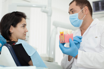 Dentist talking with patient. Dentist holding a model in his hand