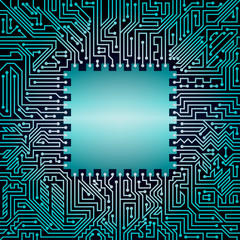 Motherboard background with chip of blue and black shades