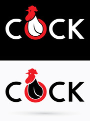 Cock designed on grunge splash brush background graphic vector.